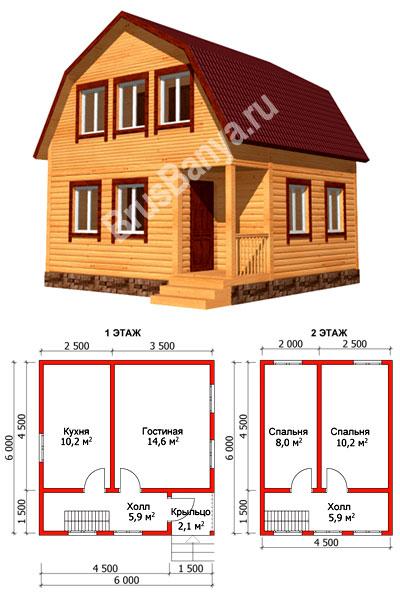 Проект D23: Загородный дом 7x8 м с эркером