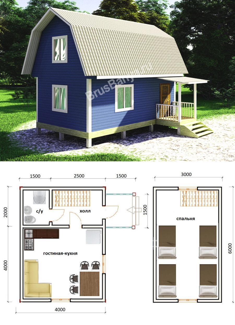 Проекты каркасных домов 6 на 4