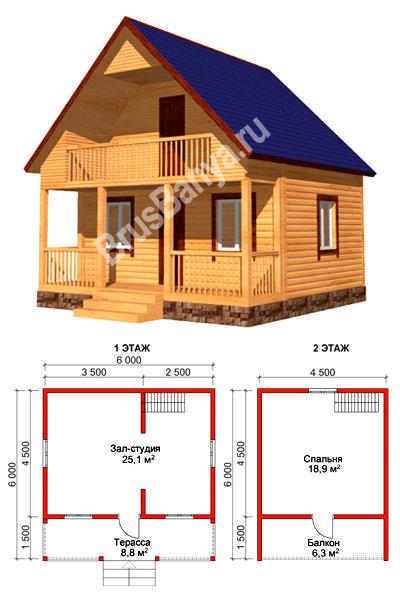 артикул КО-206 Одноэтажный дом с навесом (площадь 121м