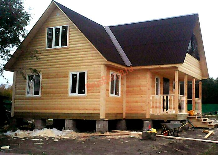 Построен дом из бруса 9х9 по проекту №39 в Карелии