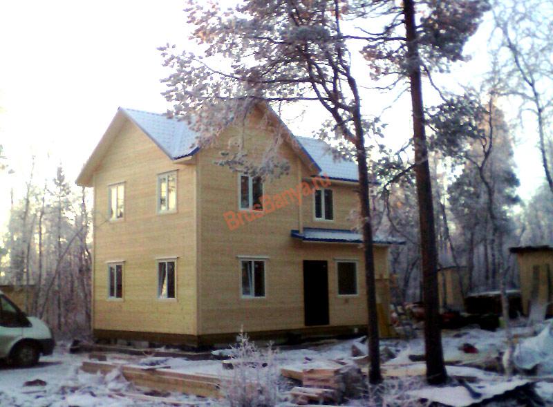 Построили дом из бруса 6х8 по проекту №58, Мурманская обл